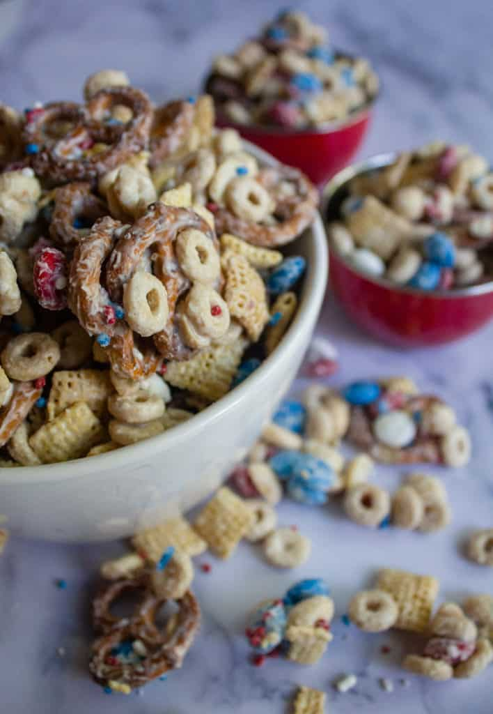 Another angle of  4th of july White Chocolate Chex mix in a couple bowls